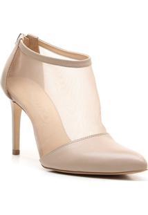 Ankle Boot Com Tule - Nude- Salto: 9,5Cm - Vicenvicenza