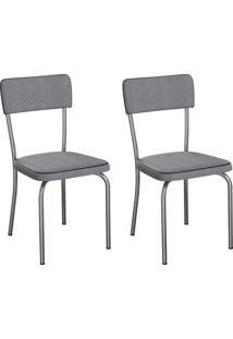 Conjunto Com 2 Cadeiras Mackay Cinza E Cromado