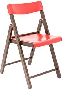 Cadeira Potenza Tabaco E Vermelha Tramontina