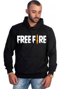 Casaco De Frio Moletom Canguru Com Capuz Selten Free Fire Preto
