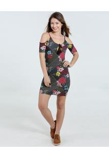 Vestido Feminino Open Shoulder Floral Marisa