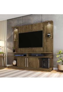 Rack Com Painel Para Tv Até 60 Polegadas Com Led York 2075188 Rústico - Bechara Móveis