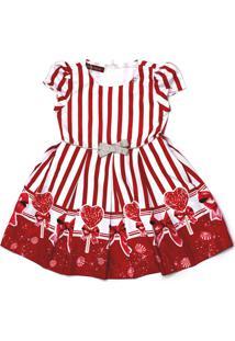 Vestido Gabriela Aquarela De Pregas Estampa Listras Com Pirulitos E Laço Na Cintura Vermelho