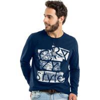 93514418bb Camiseta Manga Longa Masculina Rovitex Azul