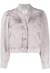 Isabel Marant Étoile Ribbed Chest Details Denim Jacket - Roxo