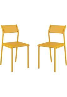 Conjunto 2 Cadeiras Tubo Amarelo Napa Amarelo Carraro