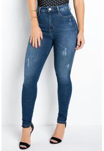 Calça Jeans Sawary Skinny 360° Com Cinta E Puídos