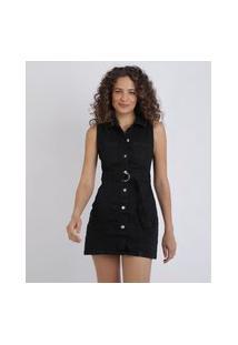 Vestido Jeans Feminino Curto Com Botões E Cinto Preto