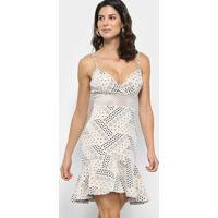 faaf45467 Vestido Carmim Sino Curto Louise De Alcinha - Feminino-Creme+Branco