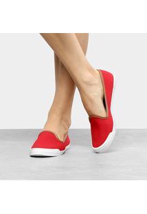 Slipper Moleca Básico Feminino - Feminino-Vermelho+Branco