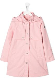 Moncler Kids Hooded A-Line Coat - Rosa