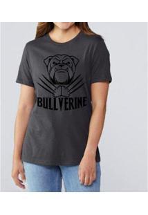 T-Shirt Bullverine Inglês Buddies Feminina - Feminino-Chumbo