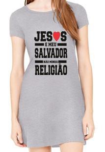 Vestido Criativa Urbana Estampado Jesus É Meu Salvador - Feminino-Cinza