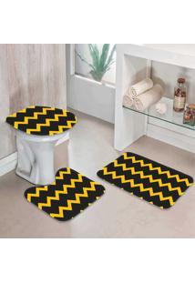 Jogo Tapetes Para Banheiro Chevrom - Único