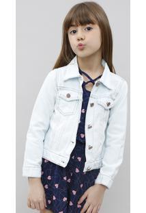 Jaqueta Jeans Infantil Com Puídos Azul Claro