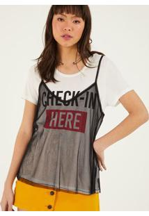 "Camiseta ""Check-In Here"" - Off White & Vermelhapop Up"