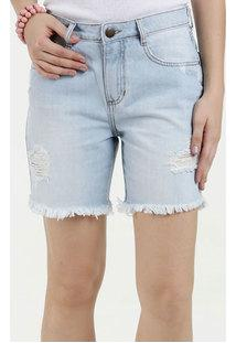 0c311fbfd Bermuda Feminina Jeans Destroyed Cintura Média Marisa