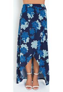 Saia Floral Azul Com Transpasse Moda Evangélica