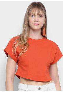 Camiseta Morena Rosa Cropped Básica Lisa Feminina - Feminino-Laranja