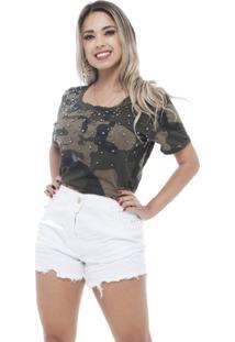 Camiseta Estilo Fino T-Shirt Camuflada Verde Militar - Verde - Feminino - Dafiti