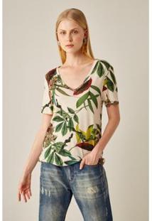T-Shirt Sacada Malha Est Trópicos Dia Feminina - Feminino-Off White