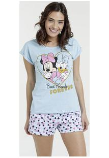 Pijama Feminino Minnie Margarida Manga Curta Disney