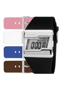 Relógio Mormaii Digital Quatro Cores De Pulseira - Fzcac/T8S Preto