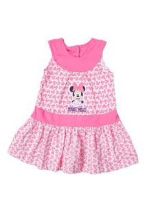 Vestido Minnie - Algodão Rosa - Disney