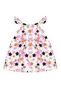 Vestido Bebê Favo Alcinha Com Babado Rosa Estrelas (P/M/G/Gg) - Gueda Kids - Tamanho P - Rosa,Dourado