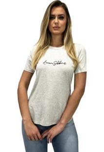 Camiseta Com Aplique Luciana Schobiner Feminina - Feminino-Cinza