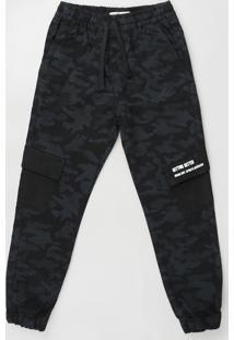 Calça Infantil Jogger Cargo Estampada Camuflada Com Cordão E Bolsos Chumbo