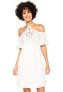Vestido Cantão Curto Bordado Branco