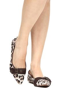 Sapatilha Couro Shoestock Bico Fino Fivela Ilhoses Pelo Feminina - Feminino
