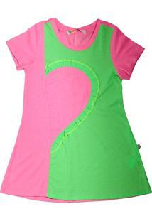 Vestido Infantil Linha A Com Recortes E Aplicação De Babadinhos