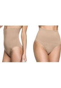 Kit 02Pçs Zee Rucci Calcinha Modeladora Sem Costura Tanga Alta E Tanga Pele Diário Íntimo