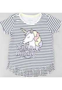Blusa Infantil Listrada Unicórnio Com Franjas Manga Curta Branca