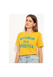 """T-Shirt De Algodão """"Optimism"""" Manga Curta Decote Redondo Mindset Mostarda"""