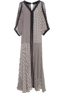 Vestido Seda Longo Triângulo Mix - Preto E Bege