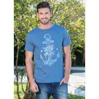Camiseta Azul Com Estampa De Âncora 57c2cafcc20