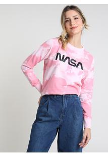 Blusão Feminino Nasa Estampado Tie Dye Em Moletom Rosa