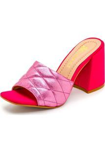 Sandália Tamanco Feminina Salto Alto Retro Confort Pink Metalizado