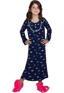 Camisola Inspirate Infantil Longa Planetas Azul Marinho