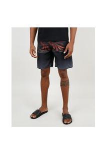 Bermuda Surf Masculina Com Folhagem E Bolso Preta