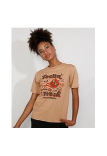 "T-Shirt Feminina Mindset Feelin' Fresh"" Manga Curta Decote Redondo Caramelo"""