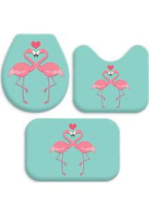 Jogo Tapetes Para Banheiro Wevans Flamingos One Turquesa