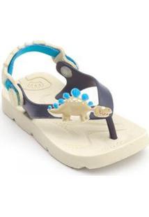 Chinelo Bebê Beach Dino Plugt Masculino - Masculino-Creme