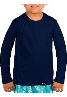 Camisa Infantil Proteção Solar Uv50 Slim Fitness Azul-Marinho 5856bc42661