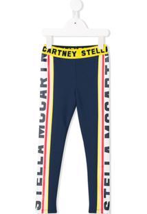 Stella Mccartney Kids Logo Printed Panelled Leggings - Azul