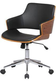 Cadeira Debora Preta Base Cromada Com Rodizio - 34459 - Sun House