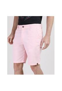 Bermuda Masculina Reta Com Bolsos Rosa Claro